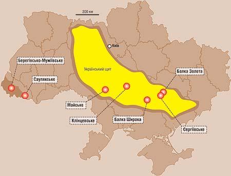 Основные залежи золота в Украине