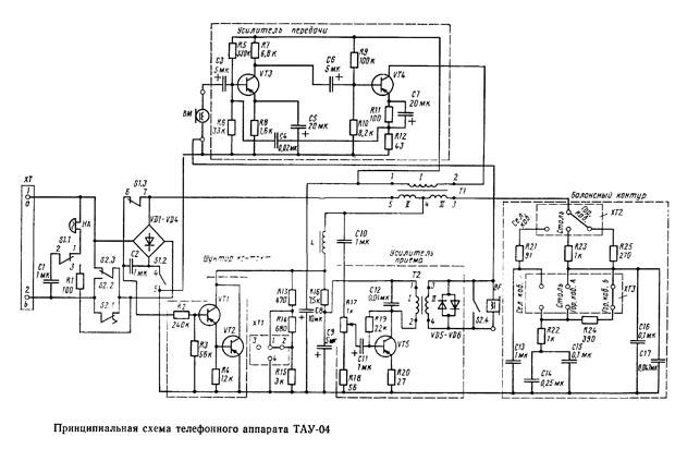 Принципиальная электрическая схема аппарата ТАУ-04