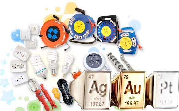 Различная электротехника - золото, серебро, платина и другие драгоценные металлы