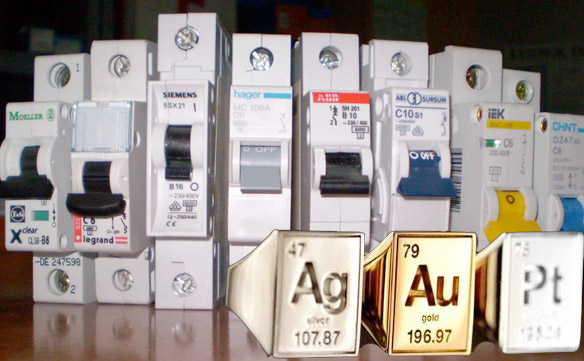 Выключатель автоматический ВПК4141Н (ТУ 16-642.061-87) - золото, серебро, платина и другие драгоценные металлы